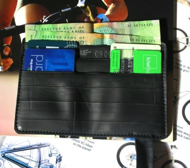 Inside view of recycled inner tube wallet made by recycled.co.nz in Wellington, NZ.
