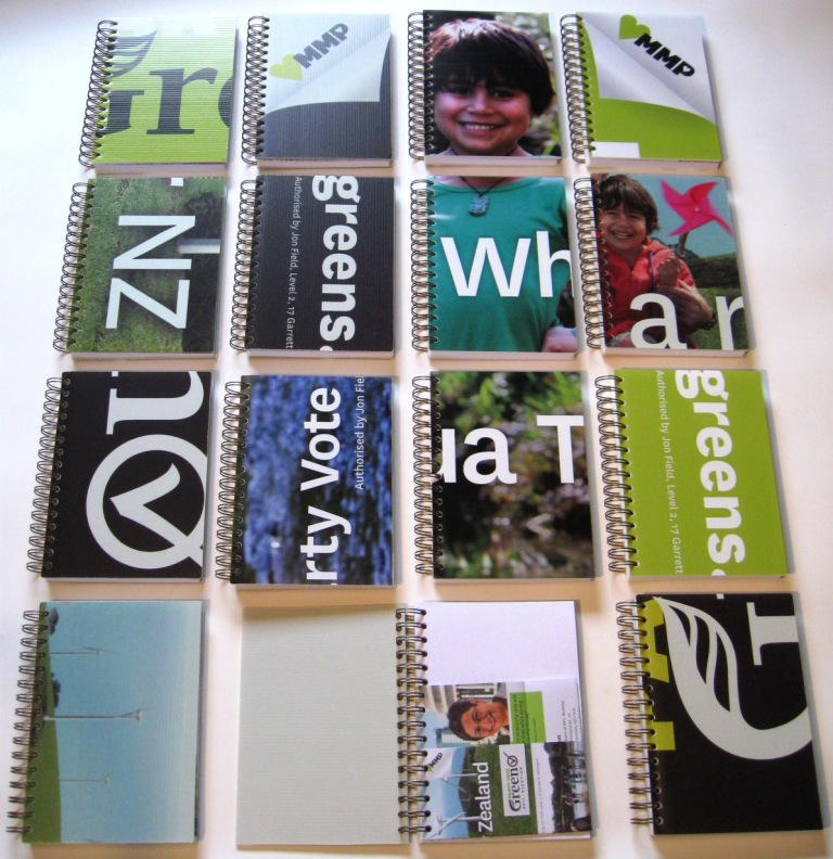 Green Party coreflute notebooks