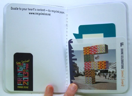 Complimentary notebook sample made from a Fringe Festival brochure