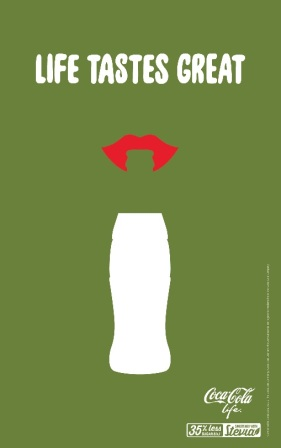 Coca-Cola Life artwork designed by Ikon Communications to celebrate Coke's 100 year anniversary of its countoured bottle
