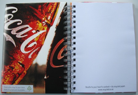 Inside view of the recycled Coca-Cola poster notebook