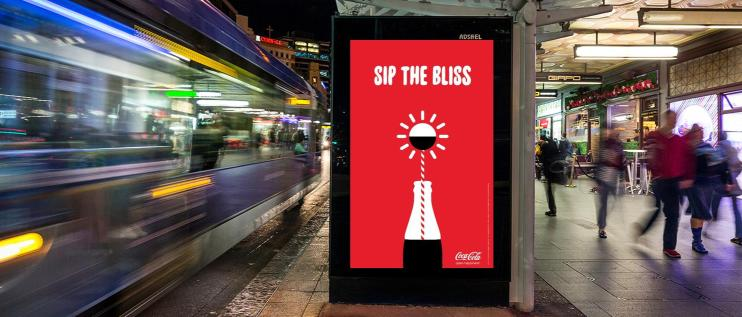 Coke's sip the bliss Adshel poster campaign keeping the good folk of Queen Street Auckland going all night long