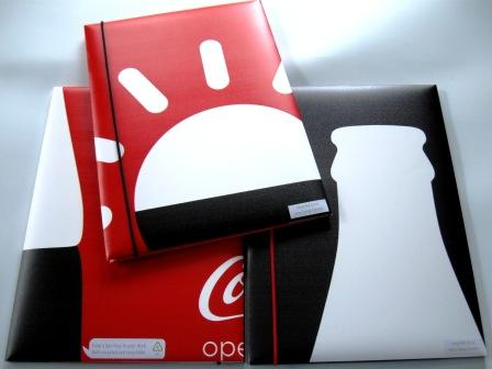 Recycled poster folders made from Coca-Cola Adshels