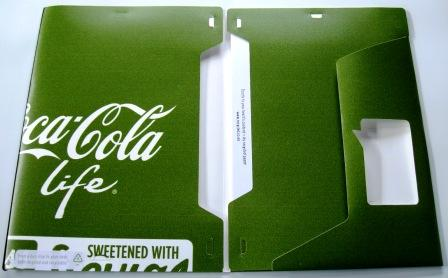 Recycled Adshel poster folders made from a Coca-Cola Life campaign