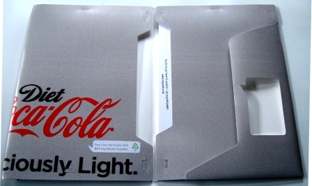 Recycled poster folder made from Coca-Cola's Adshel campaign