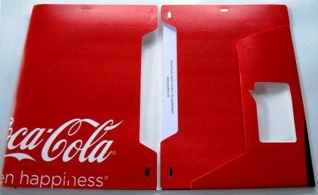 Inside view of the recycled poster folders made from Coca-Cola's countour Adshel campaign