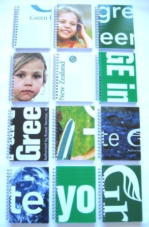 Green Party election signs recycled into A5 notebooks.