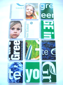 Recycled coreflute notebooks made from Green Party election signs.