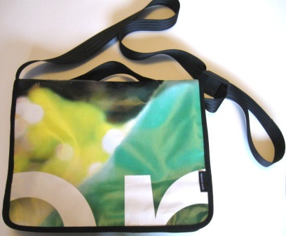 Recycled laptop bag made from Green Party election banner.