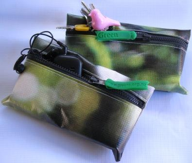 Recycled billboard purse made from Green Party election banner and silicon bracelets