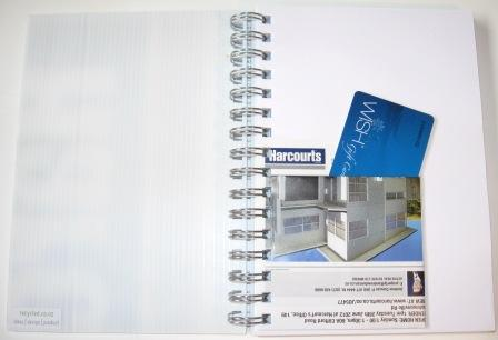 Harcourts sign recycled into notebooks by recycled.co.nz