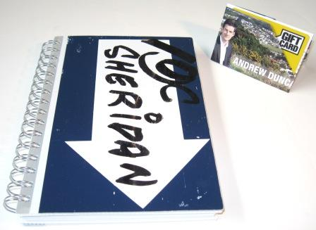Recycled coreflute notebook from a Harcourts sign made by recycled.co.nz