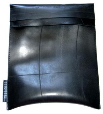 Front view of the recycled inner tube I-Pad sleeve
