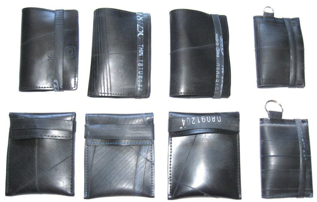 Inner tube wallets, card holders and keyrings made by recycled.co.nz in Wellington, NZ.