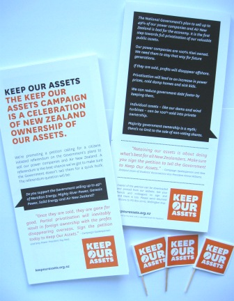 Keep Our Assets flyers turned into little flags