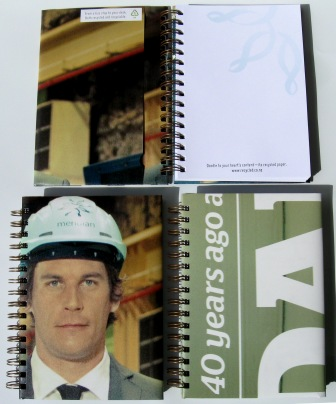 More of the recycled poster notebook in the range kindly commissioned by Meridian Energy