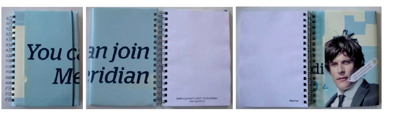 A Meridian Energy recycled poster notebook that says 'You c Me' on the front and then opens up to read in full to say 'You can join Meridian'.