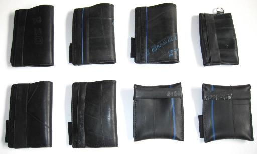 Recycled inner tube wallets made by recycled.co.nz in Wellington, NZ.
