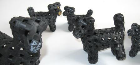 Up close view of recycled inner tube dogs.