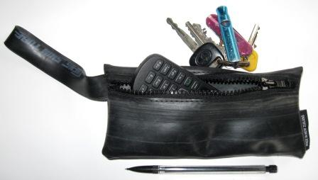 Recycled inner tube wrist purse