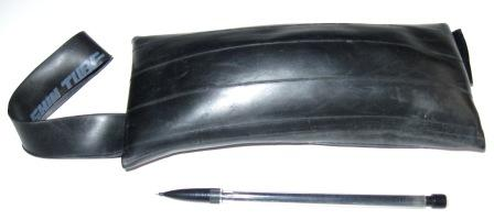 Rear view of inner tube wrist purse to show curvature of tube.