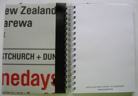 Inside view of the recycled Creative NZ capaign poster notebooks