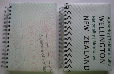 Recycled poster notebook made out of an image of a NZ passport