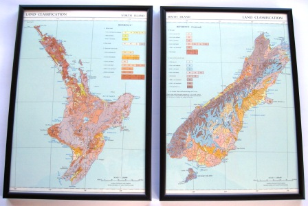 A vintage 1950's map featuring New Zealand's geology