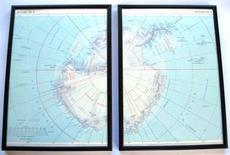 A 1950's vintage map of Antarctica with ice margins that no longer exist.