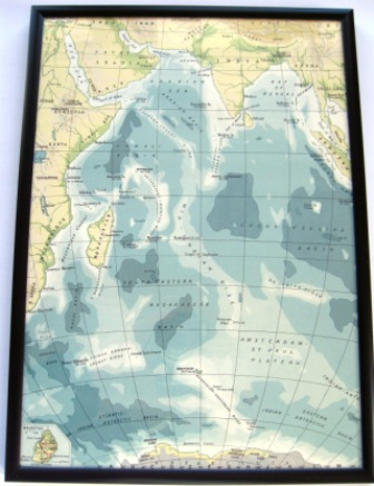 A vintage 1950's map featuring the Indian Ocean.
