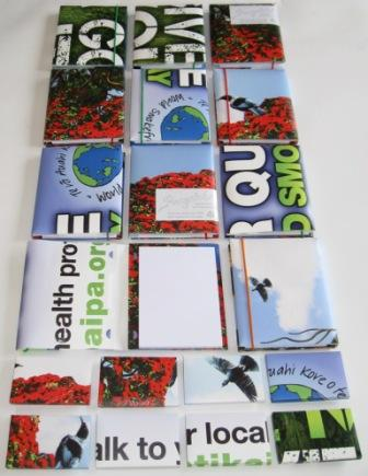 World Smokefree Day posters made into A6 notebooks and business card boxes by recycled.co.nz