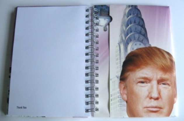 A Donald Trump recycled poster notebook being used to raise funds for Women's Refuge