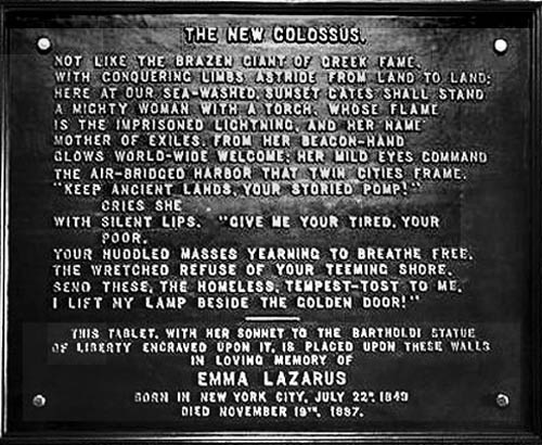 The sonnet at the base of the Statue of Liberty